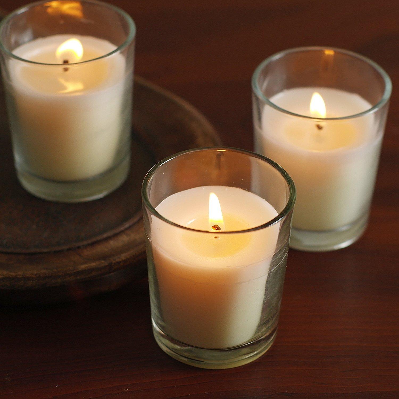 set of 48 unscented glass filled votive candles best offer reviews. Black Bedroom Furniture Sets. Home Design Ideas