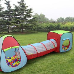 Kiddey Children's Dual Play Tent with Tunnel (3-Piece Set)