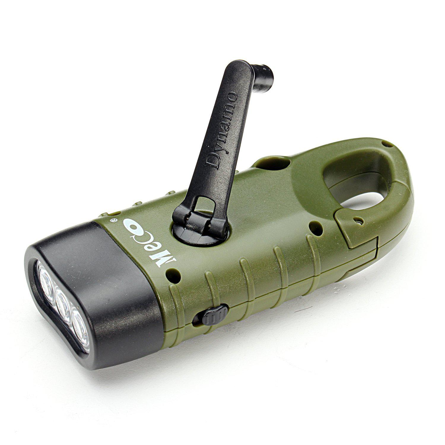 Meco Hand Cranking Solar Powered Rechargeable Flashlight