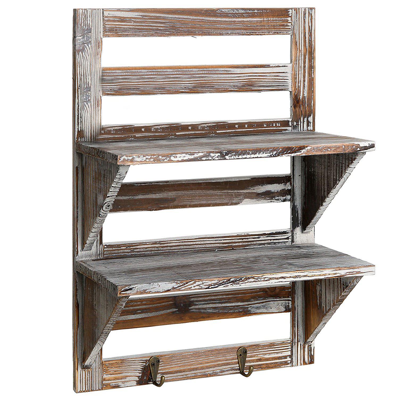Wooden Wall Mounted Book Shelf: MyGift Rustic Wood Wall Mounted Organizer Shelves Best
