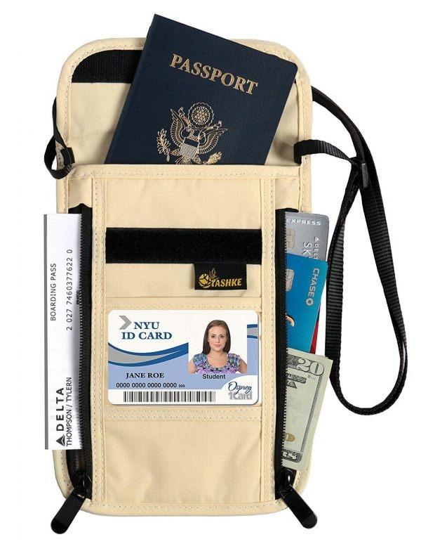 RFID Blocking Passport Neck Travel Wallet Pouch Hidden Security Wallet