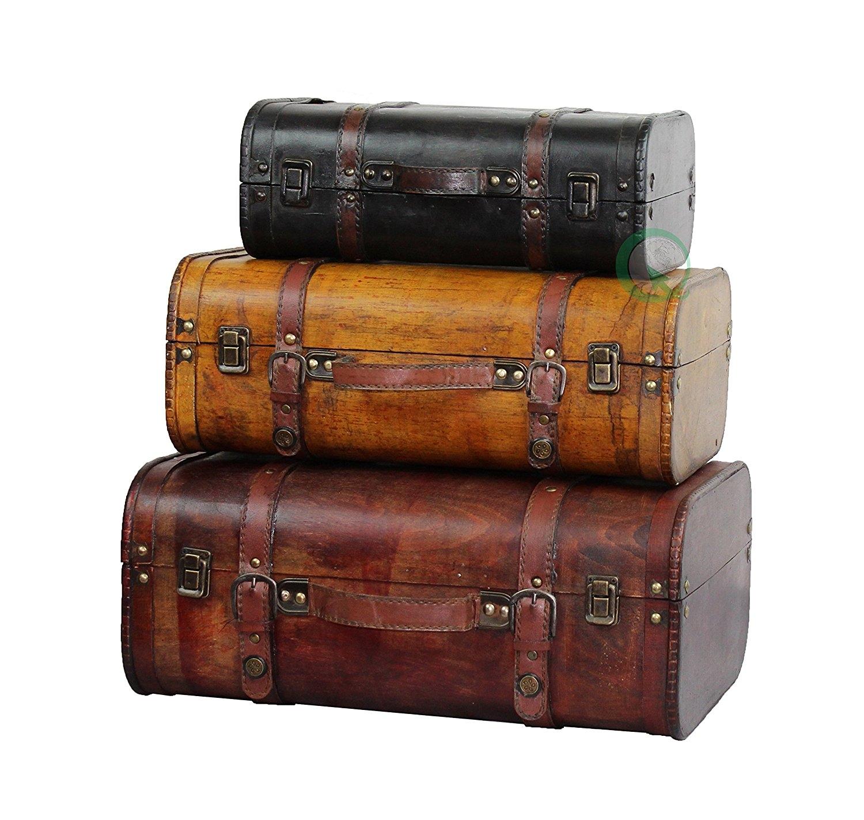 3 colored vintage style luggage suitcase set of 3 best offer. Black Bedroom Furniture Sets. Home Design Ideas