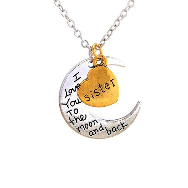 Bling Stars Mom I Love You To The Moon and Back Heart Pendant Necklace