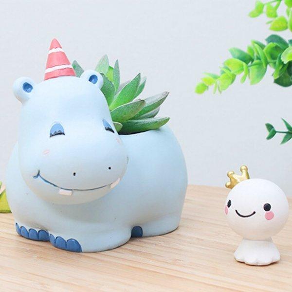Cute Hippo Succulent Pots with Drainage Resin Mini Flower Pot Garden