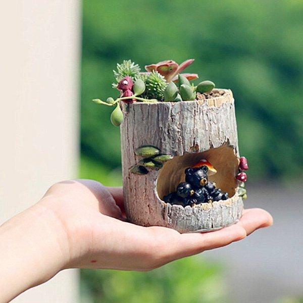 Small Kawaii Animal Resin Flower Pot Planter Succulent Flower Pot