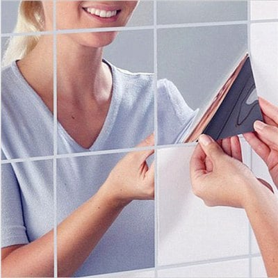 9PCS Square Mirror Tile Wall Stickers