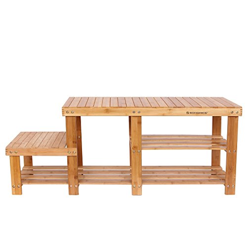 Bamboo Shoe Bench Entryway Storage Rack with High and Low Levels for Adult and Child