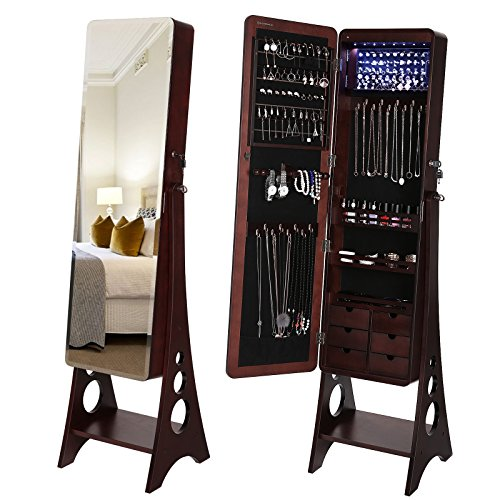 jewelry cabinet with bevel edge full length mirror lockable floor standing jewelry armoire best. Black Bedroom Furniture Sets. Home Design Ideas