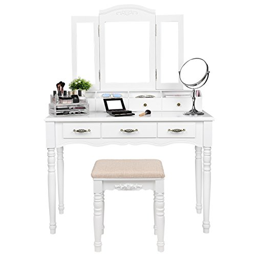 7 Drawers Vanity Table Set With Tri Folding Necklace