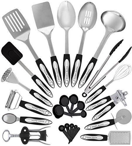 stainless steel kitchen utensil set - 25 cooking utensils