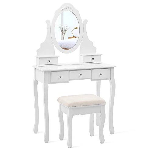 Vanity Set with Mirror and Stool Make-up Dressing Table 5 Drawers with 2 Dividers, White