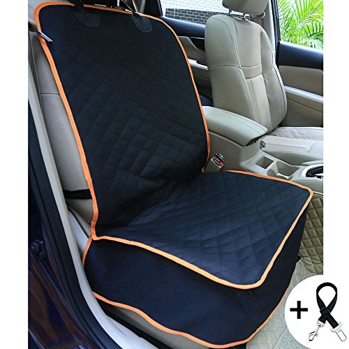 Amochien Dog Front Car Seat Cover, Waterproof & Scratch Proof & Nonslip Rubber Backing with Anchors, Quilted, Padded Machine Washable Pet Front Seat Cover Black