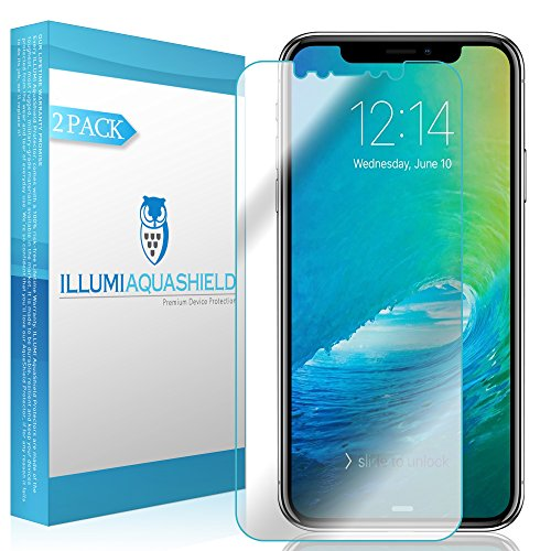 iPhone X Screen Protector [2-Pack], ILLUMI AquaShield Full Coverage Screen Protector for iPhone X HD Clear Anti-Bubble Film