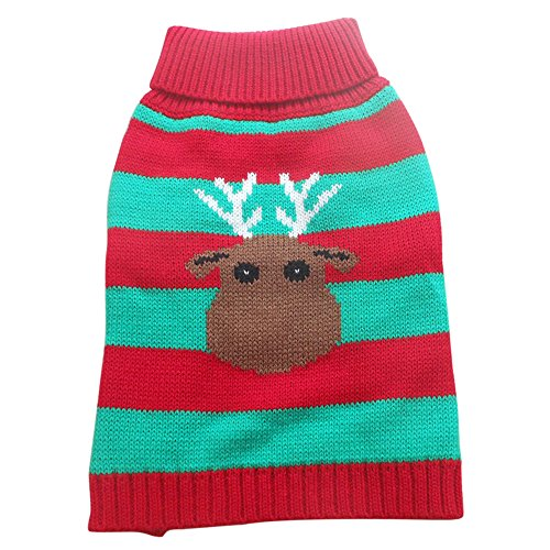Tangpan Stripes Deer Print Pet Dog Turtleneck Sweater Apparel Size XS