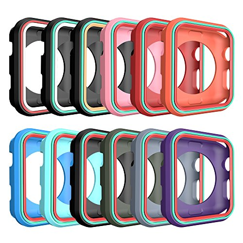 AWINNER Colorful Case for Apple Watch 38mm,Shock-proof and Shatter-resistant Protective iwatch Silicone Case for Apple Watch Series 3,Series 2,Series 1, Nike+,Sport,Edition (12-Colour)