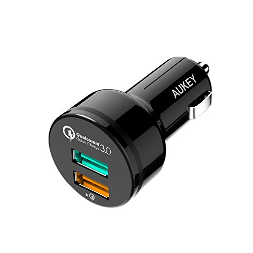AUKEY Car Charger with 31.5W Output, Quick Charge 3.0 & 5V/2.4A Ports for Samsung Galaxy Note8 / S9, iPhone X / 8 / Plus and More   Qualcomm Certified