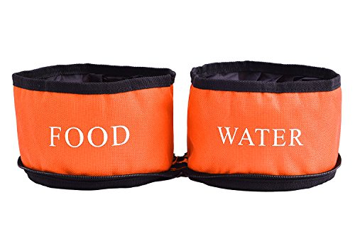 Collapsible Pet Travel Dog Bowl Double Food and Water