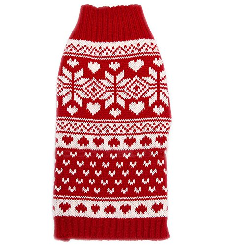 Tangpan Classic Red Snow Pet Turtleneck Dog Sweater Puppy Kitten Cats Apparel Clothes Size S