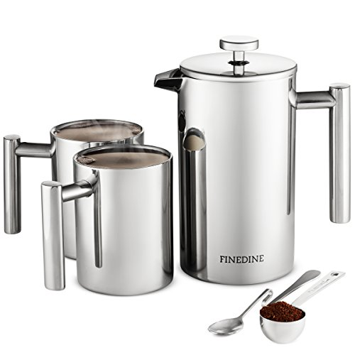 5 Piece - 18/8 Stainless Steel French Press Coffee Maker