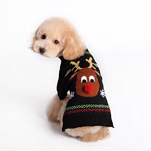 Kuoser Holiday Christmas Classic Cartoon Reindeer Dog Sweater Knitwear for Cold Weather Small Medium sized dog winter Coat Costume ( XS-XXL ),Reindeer XL