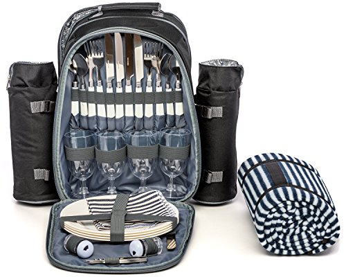 Picnic Backpack for 4 by Mister Alfresco, Stylish Black Color With Insulated Cooler Compartment 2 Detachable Bottle/Wine Holders Fleece Blanket Flatware and Plates. Light-weight, Versatile