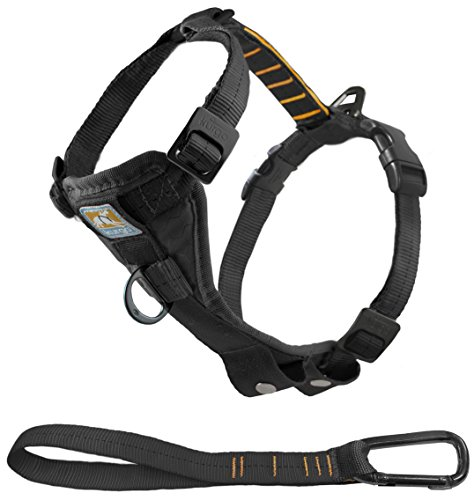Kurgo Tru-Fit No Pull Dog Harness and Easy Dog Walking Harness with Pet Seatbelt Tether for Car, Black, Small