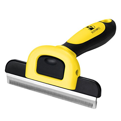 Bonve Pet Dog Grooming Brush, Professional Dog Shedding Brush Effectively Deshedding Tool 95% Reduce Shedding Fur for Small Large Dogs Cats Pets Yellow