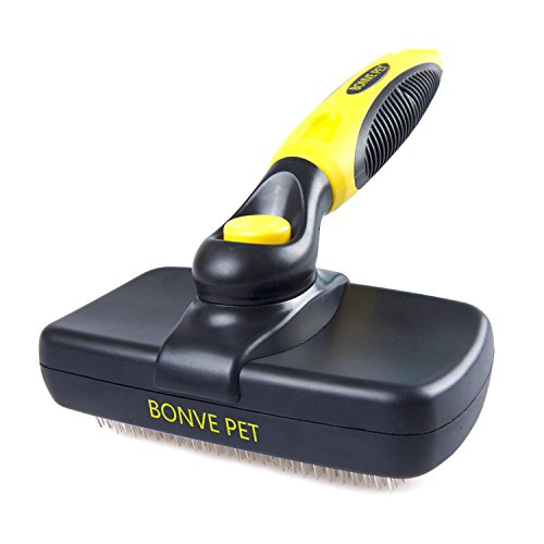 Pet Grooming Brush - Self Cleaning Slicker Brushes Best Shedding Tools for Grooming Cat Dog Long & Thick Hair