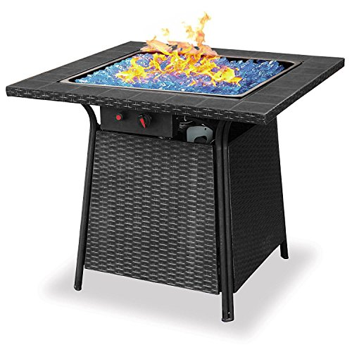Uniflame Blue Rhino Endless Summer Outdoor Patio Propane Gas Blue Glass Fire Pit