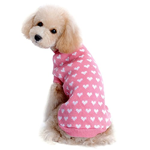 "Kuoser Autumn Winter cute Dog Sweater with Lovely Heart pattern Pink Knitwear Dog clothes pet sweater (L(Back: 11.4"" Neck : 11"" Chest : 14.6""))"