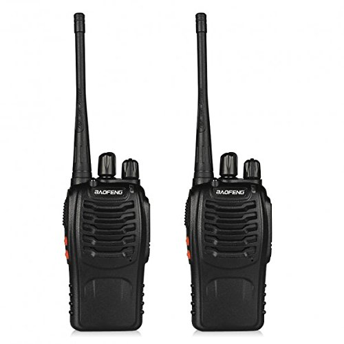 BaoFeng Walkie Talkie 2pcs in One Box with Rechargeable Battery Headphone Wall Charger Long Range 16 Channels Two Way Radio (2pcs radios)