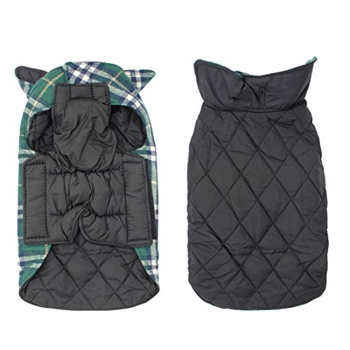 Scheppend Pet Dog Plaid Jacket Waterproof Warm Winter Coat for Dogs Reversible Vest with Velcro, Green Large