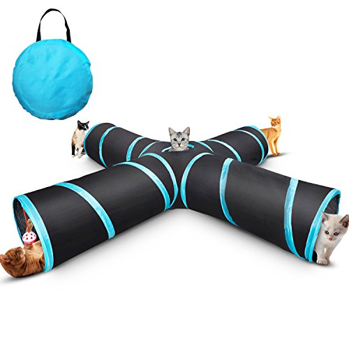 Creaker 4 Way Cat Tunnel, Collapsible Pet Play Tunnel Tube Toy with a Bell Toy & a Soft Ball Toy for Cat, Puppy, Kitty, Kitten, Rabbit