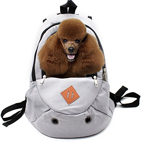 Scheppend Latest Style Canvas Pet Carrier Backpack for Dogs Cats Portable Outdoor Travel Carrier Bag, Fit for Traveling Hiking Camping.