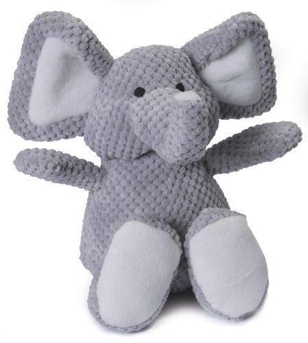 goDog Checkers Elephant With Chew Guard Technology Tough Plush Dog Toy, Grey, Large