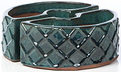 Alfresco Home Trellis Round Ceramic Umbrella Planter, Atlantis Blue