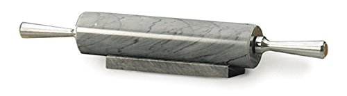 RSVP Gray Marble Rolling Pin with Stand, 17 Inch