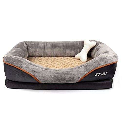 JOYELF Large Memory Foam Dog Bed, Orthopedic Dog Bed & Sofa with Removable Washable Cover and Squeaker Toys as Gift
