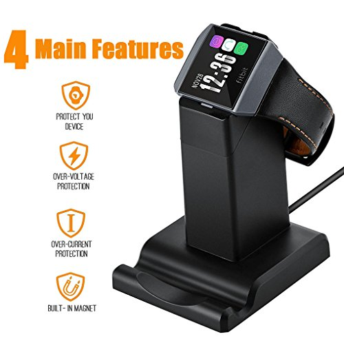 Aresh for Fitbit Ionic Charger, 3.9 feet Cable Cradle Holder USB Charging Dock Station Cable for Fitbit Ionic Smartwatch, Stand for Mobile Phone(NOT work with ionic protective case) (Black)
