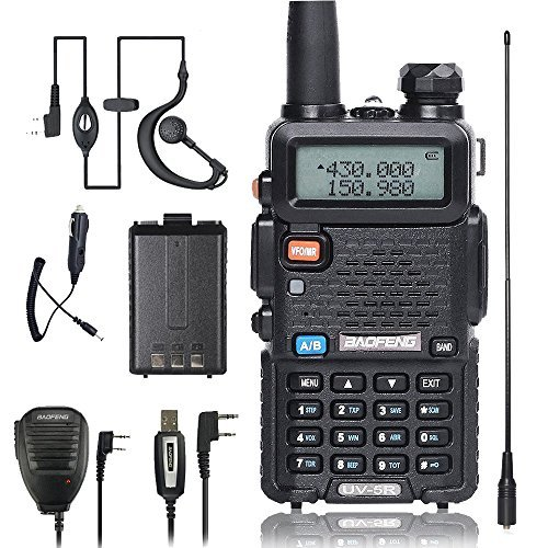 BaoFeng Walkei Talkie UV-5R Dual Band Two Way Radio with one more 1800mAh UV5R Battery one Car Charge one Hand Mic. and one TIDRADIO NA-771 Antenna ham radio