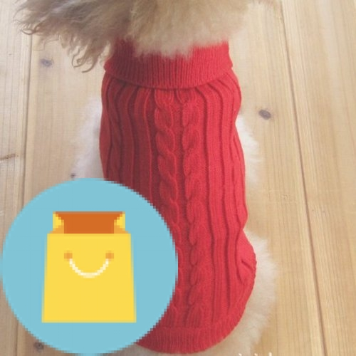 Tangpan Turtleneck Classic Straw-Rope Pet Dog Sweater Apparel (Red,XL)