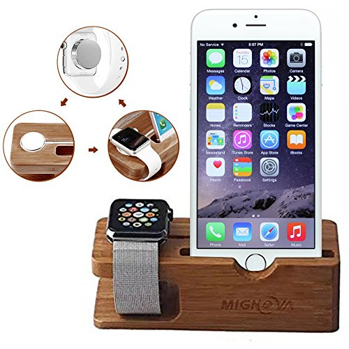 Apple Watch Stand, Gold Cherry bamboo charging dock Station