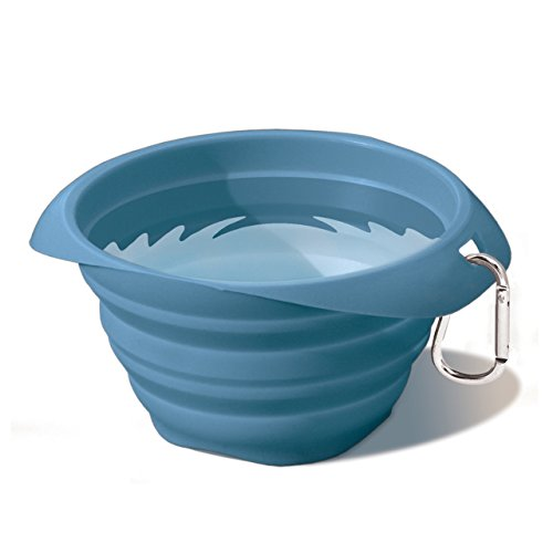 Kurgo Collapsible and Portable Travel Dog Bowl for Food and Water with Carabiner, Blue