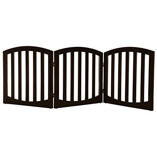 Arf pets Free standing Wood Dog Gate, Step Over Pet Fence, Foldable, Adjustable - Espresso