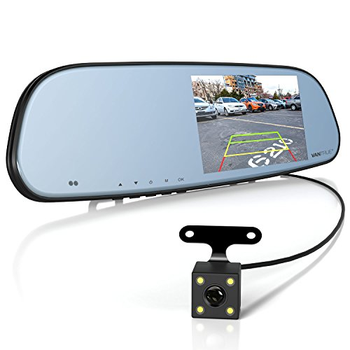 Dash Cam Backup Camera and 5'' IPS Touch Screen Rearview Mirror Monitor