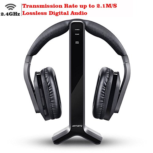 D1 Wireless TV Headphone 2.4GHz Digital Transmitter Charging Dock