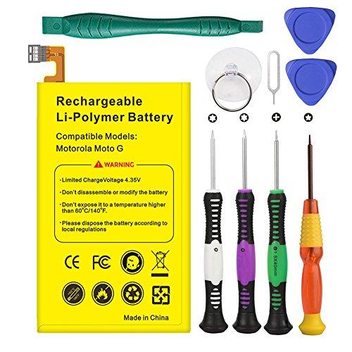 EUHAN Rechargeable Li-Polymer Battery Replacement for Motorola Moto G XT1032 XT1033 XT1036 ED30 SNN5932A 2100mA+ Repair Replacement Kit Tools