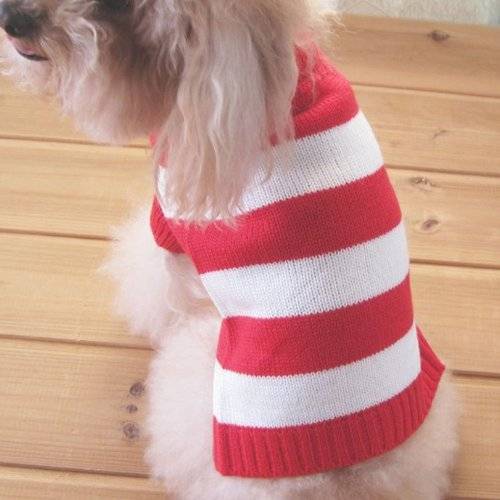 Turtleneck Stripes Pet Clothes Dog Wool Classic Sweaters (Red &White Stripe, L)
