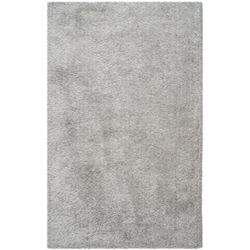 Safavieh Venice Shag Collection Handmade Silver Polyester Area Rug (6' x 9')