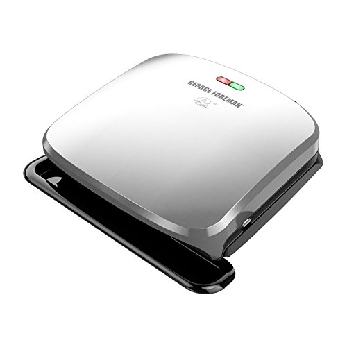 George Foreman 4-Serving Removable Plate Grill and Panini Press, Platinum